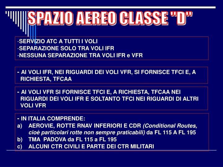 "SPAZIO AEREO CLASSE ""D"""