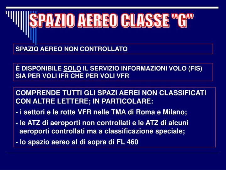 "SPAZIO AEREO CLASSE ""G"""