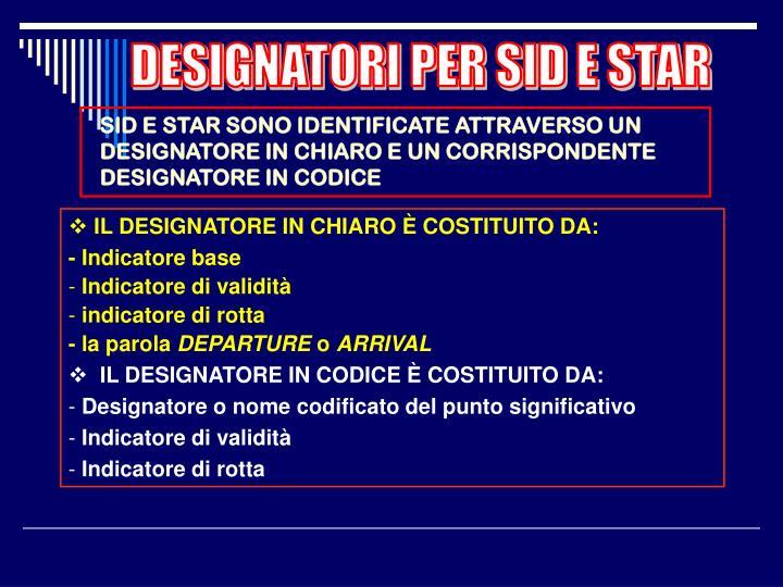 DESIGNATORI PER SID E STAR