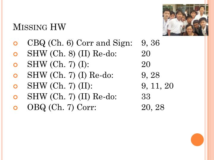 Missing HW