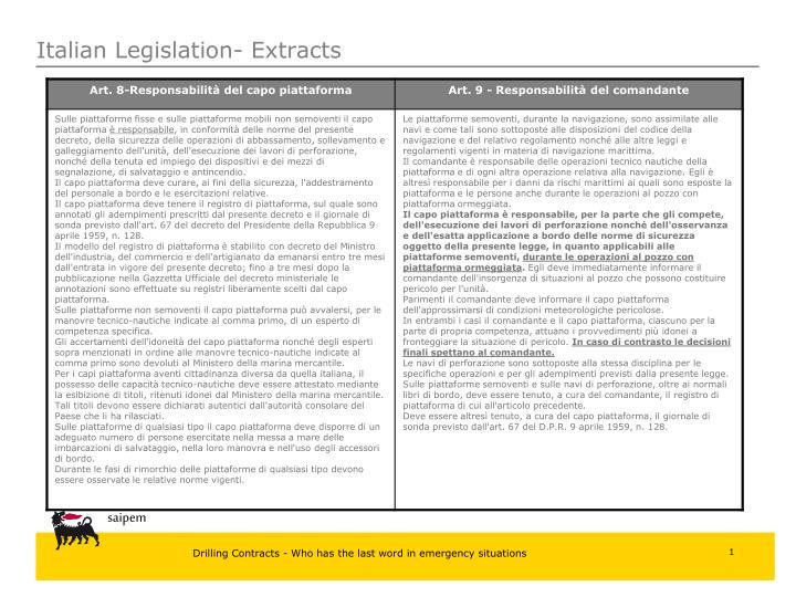 Italian Legislation- Extracts