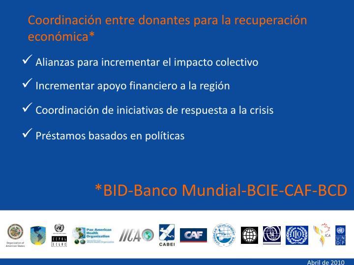 *BID-Banco Mundial-BCIE-CAF-BCD