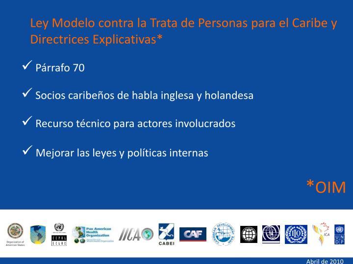 Ley Modelo contra la Trata de Personas para el Caribe y Directrices Explicativas