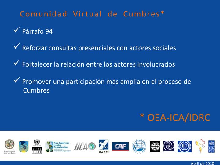 Comunidad Virtual de Cumbres*