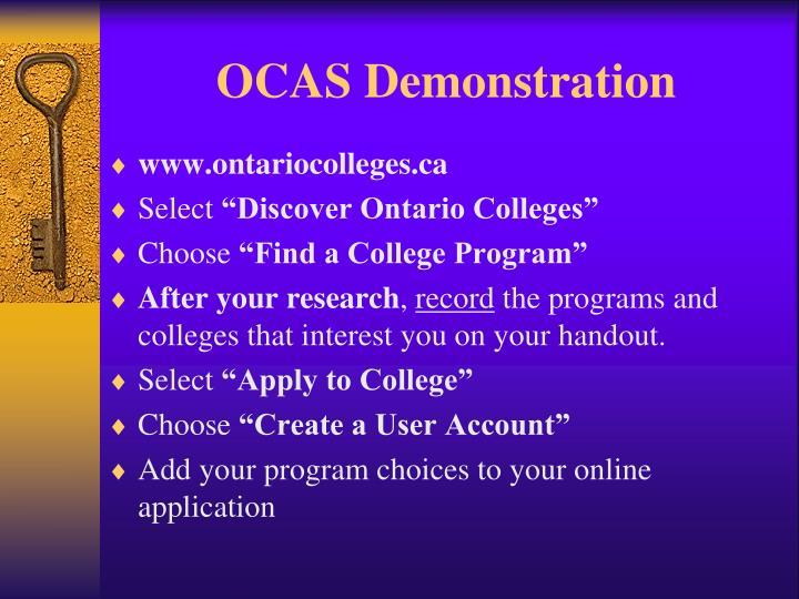 OCAS Demonstration