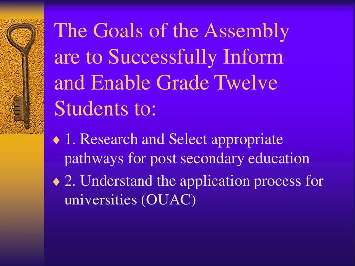 The Goals of the Assembly are to Successfully Inform and Enable Grade Twelve Students to:
