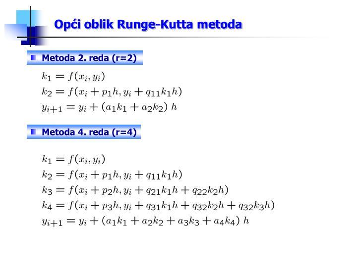 Opći oblik Runge-Kutta metoda