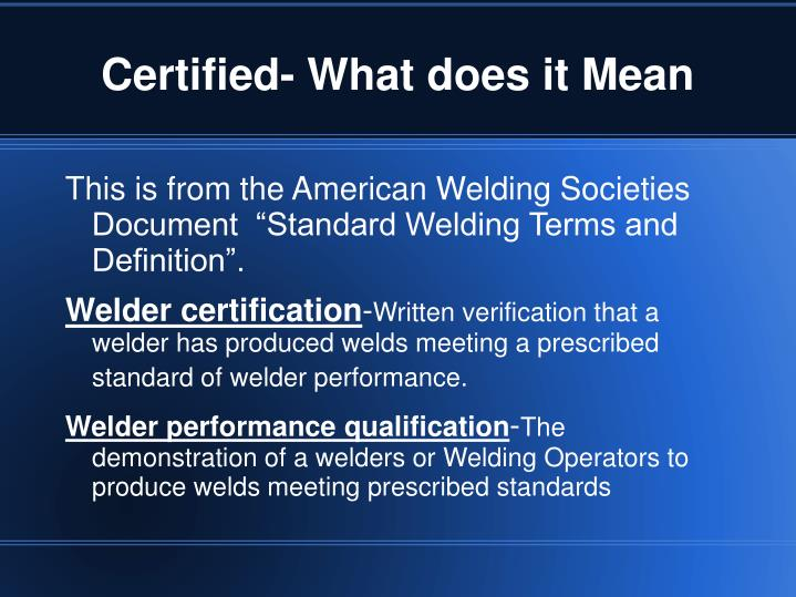 Certified- What does it Mean