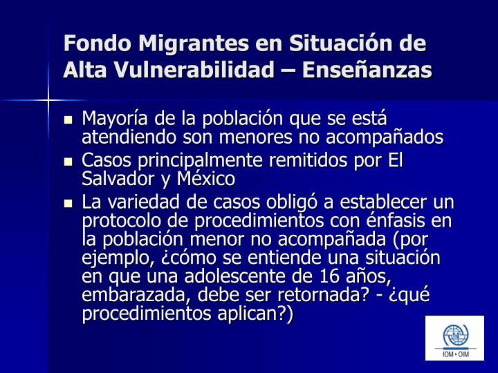 Fondo Migrantes en Situación de Alta Vulnerabilidad – Enseñanzas