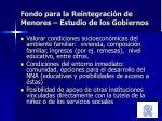 fondo para la reintegraci n de menores estudio de los gobiernos