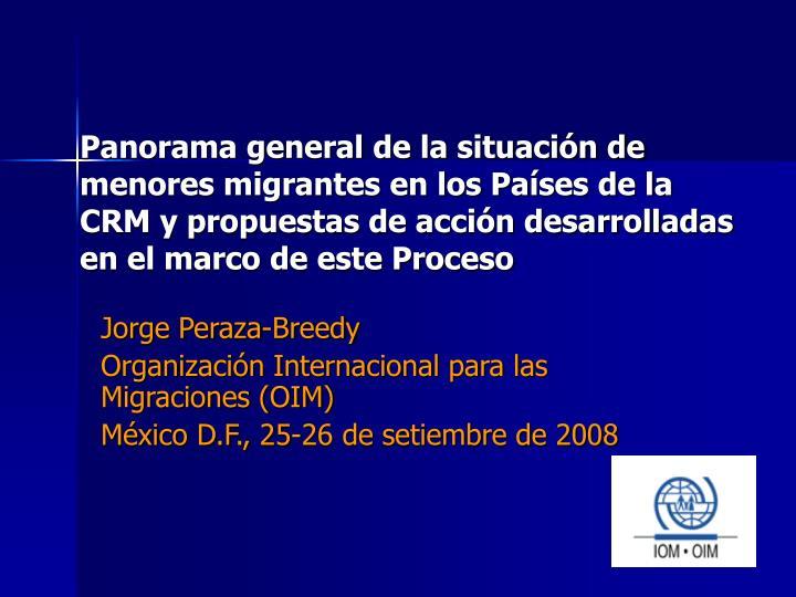 Panorama general de la situación de menores migrantes en los Países de la CRM y propuestas de acción desarrolladas en el marco de este Proceso