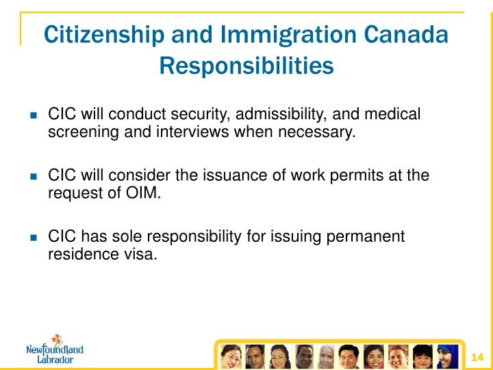 Citizenship and Immigration Canada Responsibilities