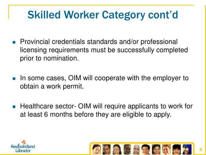 Skilled Worker Category cont'd