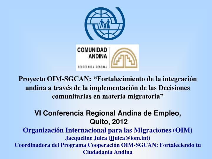Proyecto OIM-SGCAN: