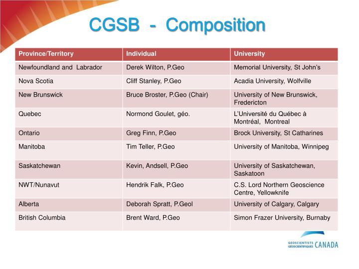 CGSB  -  Composition
