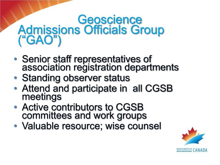"""Geoscience Admissions Officials Group  (""""GAO"""")"""
