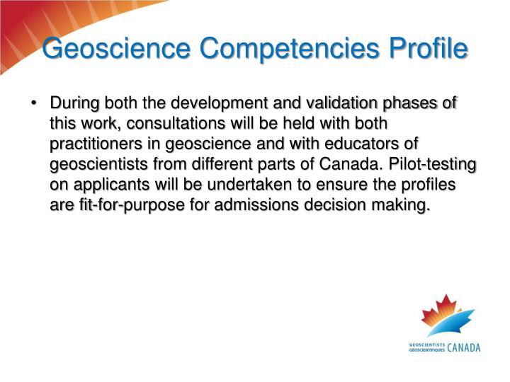 Geoscience Competencies Profile