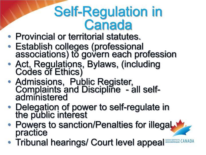 Self-Regulation in Canada