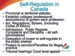self regulation in canada