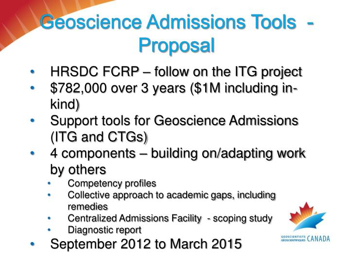 Geoscience Admissions Tools  - Proposal