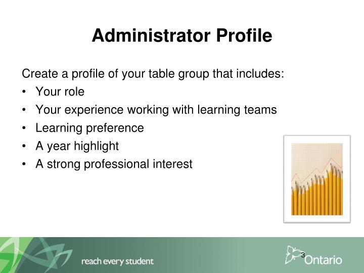 Administrator Profile