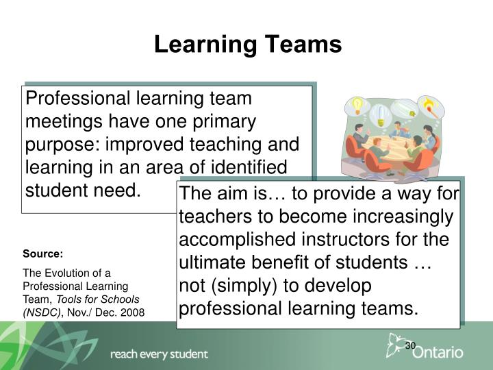 The aim is… to provide a way for teachers to become increasingly accomplished instructors for the ultimate benefit of students … not (simply) to develop professional learning teams.