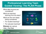 professional learning team guided viewing the plan phase