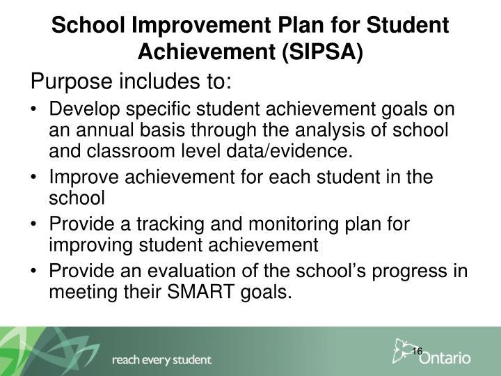 School Improvement Plan for Student Achievement (SIPSA)