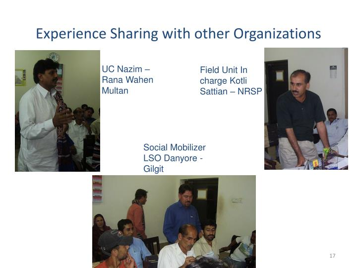 Experience Sharing with other Organizations