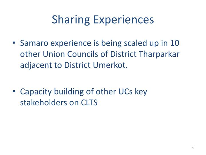 Sharing Experiences