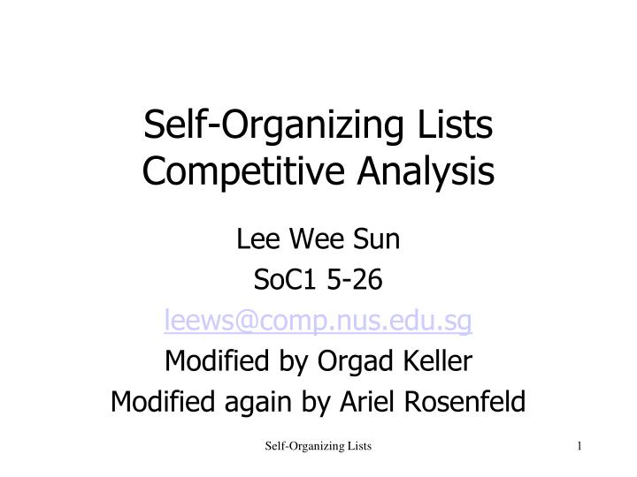 Self organizing lists competitive analysis