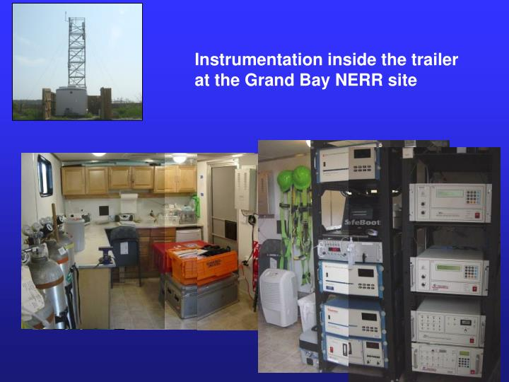 Instrumentation inside the trailer at the Grand Bay NERR site