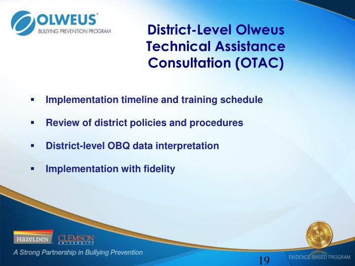 District-Level Olweus Technical Assistance Consultation (OTAC)