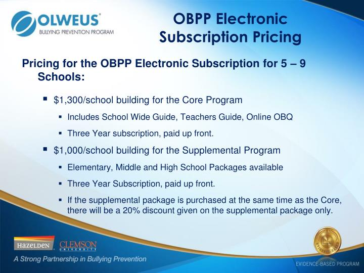 OBPP Electronic Subscription Pricing