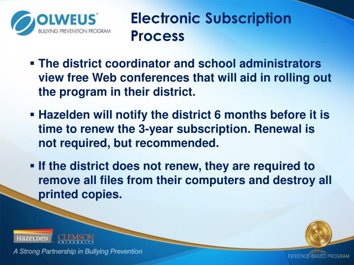 Electronic Subscription Process