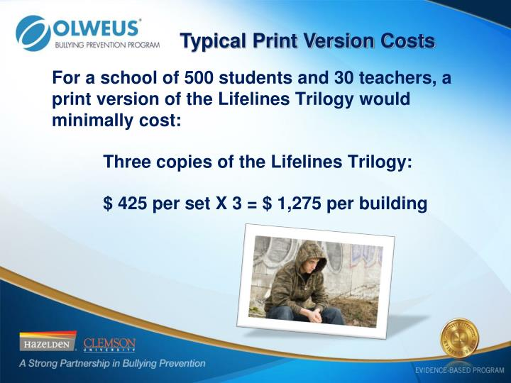 Typical Print Version Costs