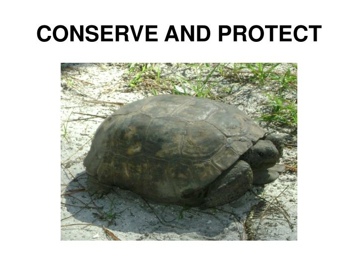 CONSERVE AND PROTECT