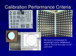 calibration performance criteria