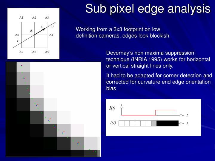 Sub pixel edge analysis