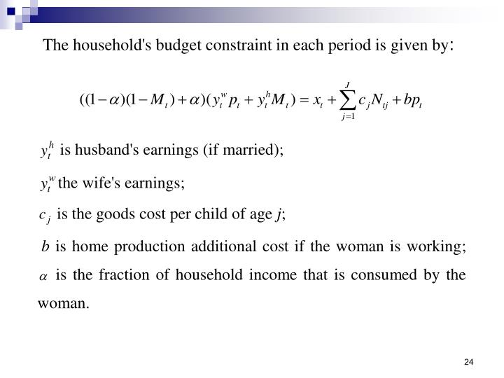 The household's budget constraint in each period is given by