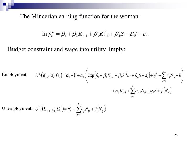 The Mincerian earning function for the woman