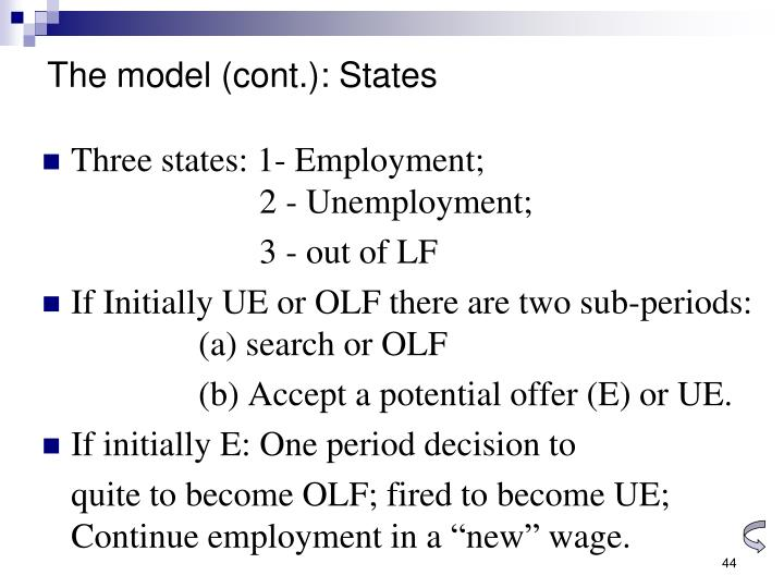 The model (cont.): States