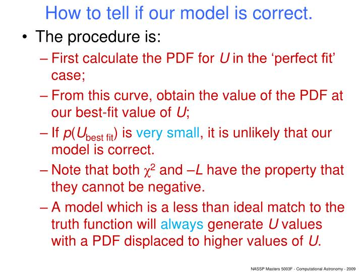 How to tell if our model is correct.