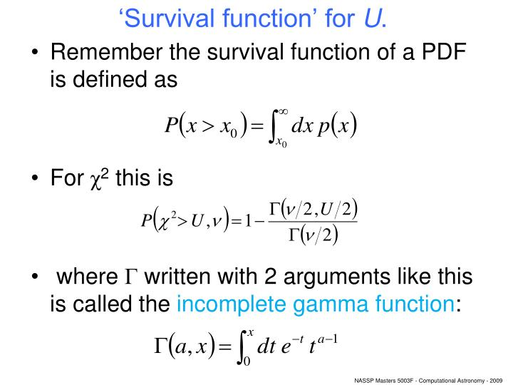 'Survival function' for