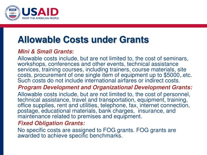 Allowable Costs under Grants