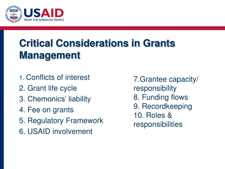 Critical Considerations in Grants Management