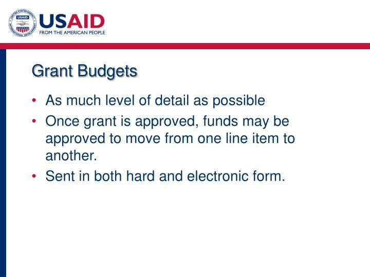 Grant Budgets