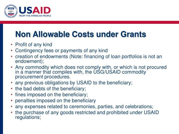 Non Allowable Costs under Grants