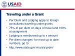 traveling under a grant