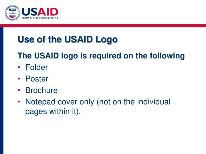 Use of the USAID Logo
